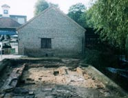 An 18th century print house uncovered outside of the wheelhouse during the filming of Channel 4's Time Team
